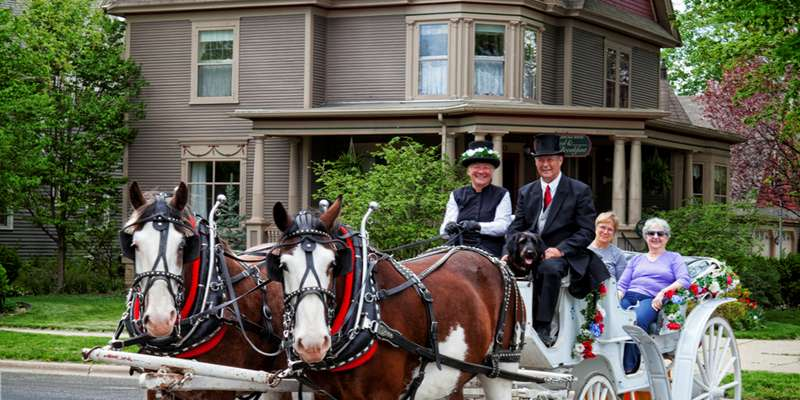 Horse-drawn architectural tours available.