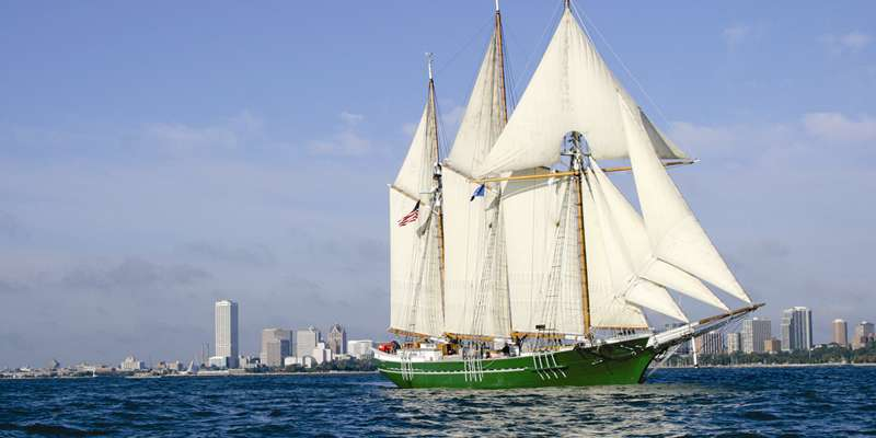 Wisconsin's flagship, the S/V Denis Sullivan under sail.
