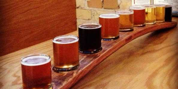 A flight of Thirsty Pagan Brewing beers.