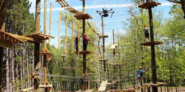 Try the aerial challenge course!