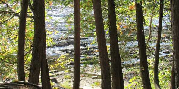 Piers Gorge located in Norway, Michigan on the Menominee River, you must take Highway 8 into Michigan to reach Piers Gorge. Once across the river, watch for signs. Take a left at the sign. Park in the designated area. It's about a 1/2 mile walk to Pier's Gorge.