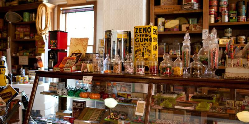 The museum boasts all kinds of goods found in an old-time general store, including a fine selection of candy.