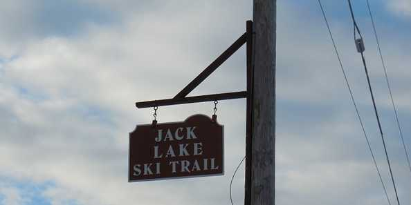 The sign from the road heading out of Jack Lake Ski Trail.