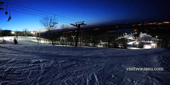Spectacular views of Wausau at night from the slopes of Granite Peak Ski Area.
