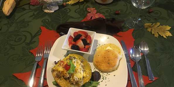 One of our signature farm to table breakfasts - Acorn Squash Hash