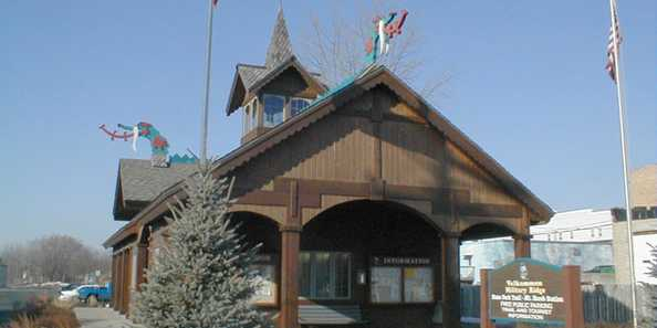 Ride your bike or take a hike on the 40 mile long Military Ridge Trail (Mount Horeb Rest Station shown).