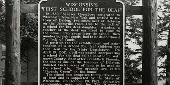 Wisconsin's First School for the Deaf Historic Marker, 1969