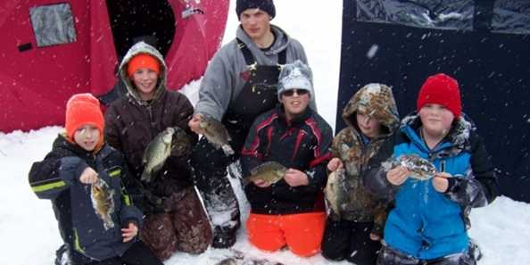 Ice Fishing for Panfish on a Phillips Area Lake