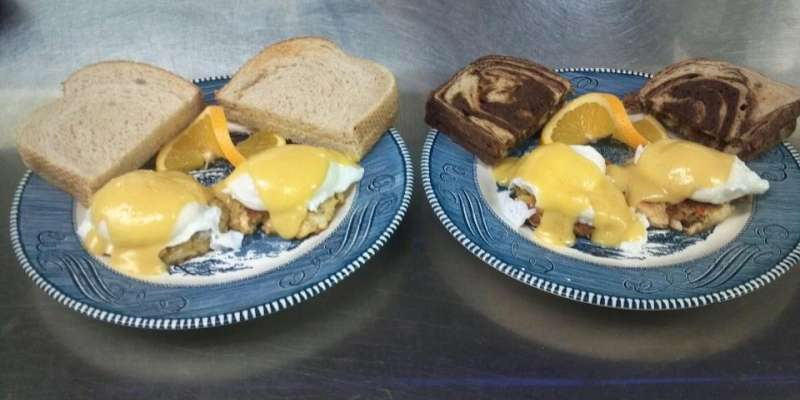 Outdoorsman Crab Cake Benedict