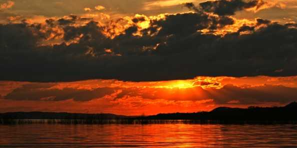 Sunset on Lake Pepin from a kayak.