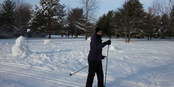 Cross Country Skiing across Buck Skinner Rendezvous Point on the Springbrook Trail in the City of Antigo