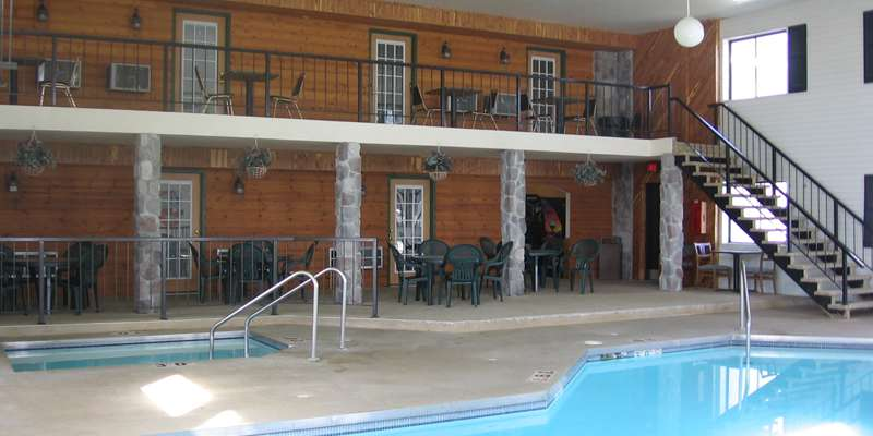 Pool area, showing pool side rooms