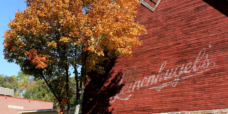 Leinenkugel's barn in the fall