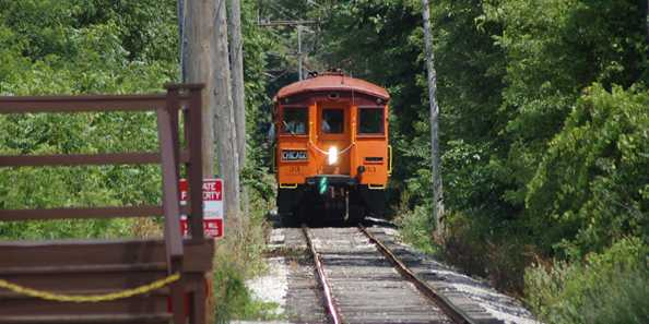 South Shore Car #33 approaching the East Troy Platform