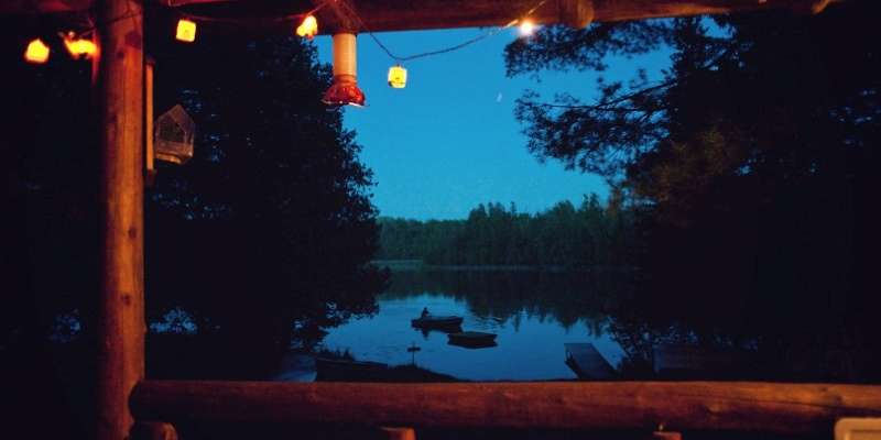Green Cabin at Night