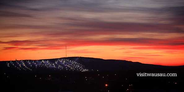 Brilliant sunset over Granite Peak Ski Area.