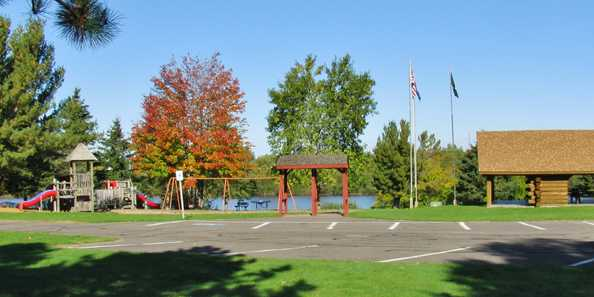 Hines Park Playground & Log Pavilion located on the Flambeau River