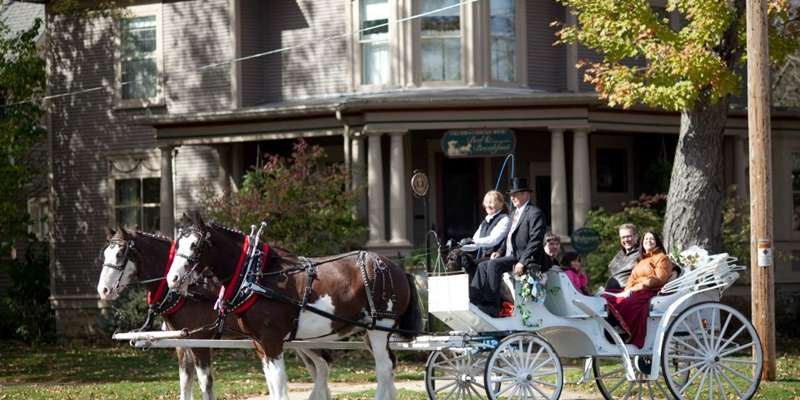 Carriage rides start at Columbus Carriage House Bed & Breakfast, and travel through historic Columbus.