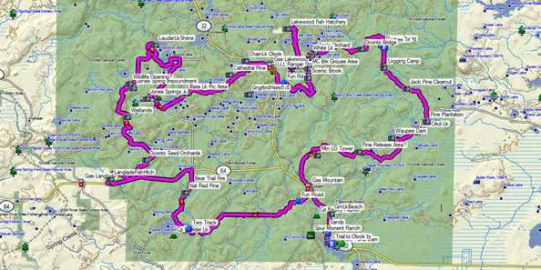 An overview of the 100 mile loop with points of interest way pointed in the file.