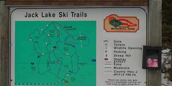 The main trail map at the parking lot at Jake Lake Ski Trail in Langlade County.