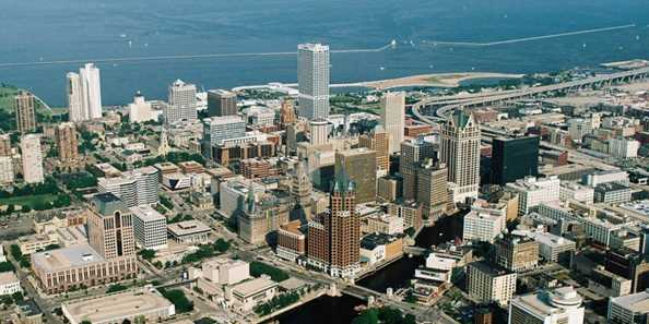 Aerial shot of downtown Milwaukee